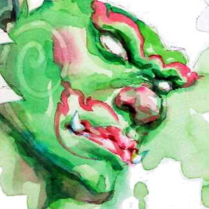 Green-demon-face